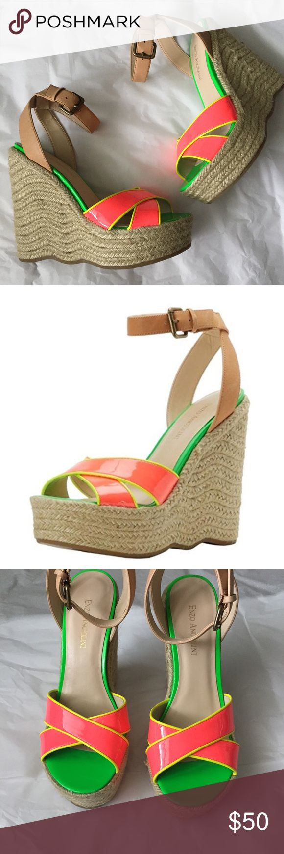Enzo Angiolini Neon Sandals! Enzo Angiolini wedge Sandals! New without tags! Leather uppers! So Bright for spring and summer! Neon Pink, yellow and Green! Very vibrant in person! Adjustable ankle strap! Size 8.5 wedge heel 5.5 inches. Platform 1.5 inches! Enzo Angiolini Shoes Sandals