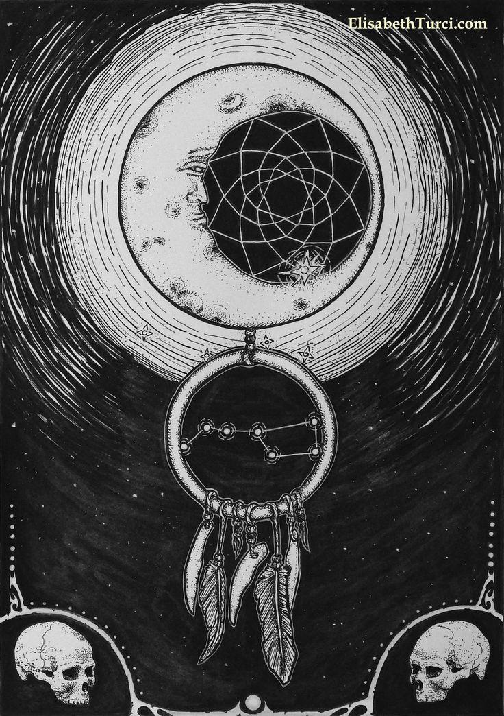 """Dreamcatcher "" by Elisabeth Turci  #dreamcatcher #art #skull #skulls #skullart #moon #nightsky #darkart #gothicart #gothic #inkonpaper #ink #inkart #elisabethturci"