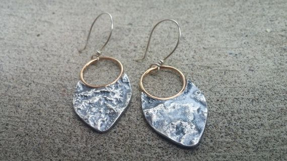 Mixed Metal Textured Shield Earrings in by LolaJewelleryDesign