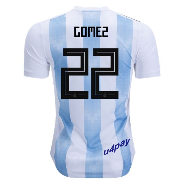 Alejandro Gomez 22 2018 FIFA World Cup Argentina Home Soccer Jersey
