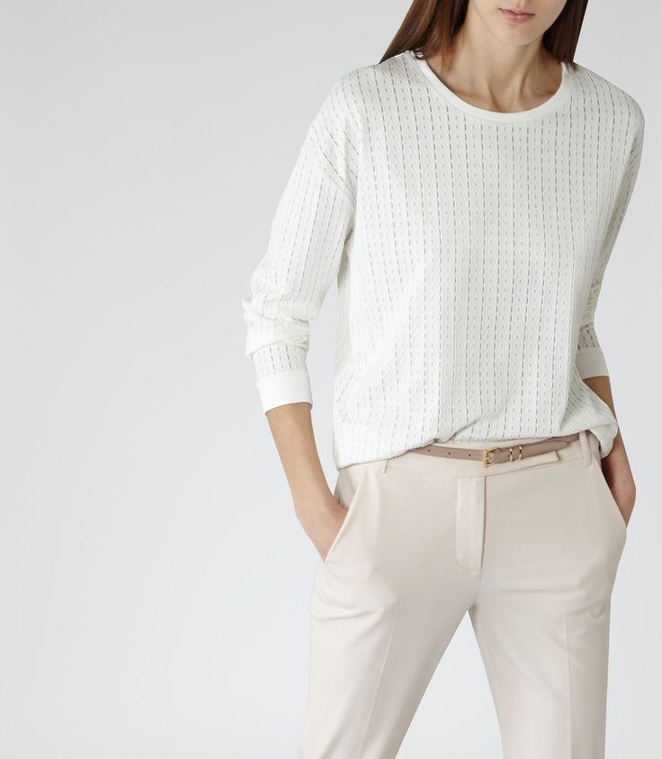 Womens Off White Laser-cut Sweatshirt - Reiss Verona