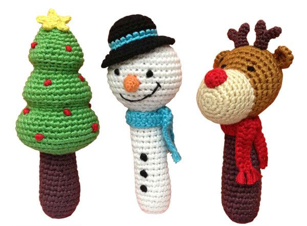 Cheengoo Holiday Crocheted Baby Rattle Set