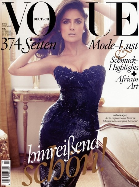 HOT TAMALES!! Selma Hayek Covers Vogue UK September 2012 Issue
