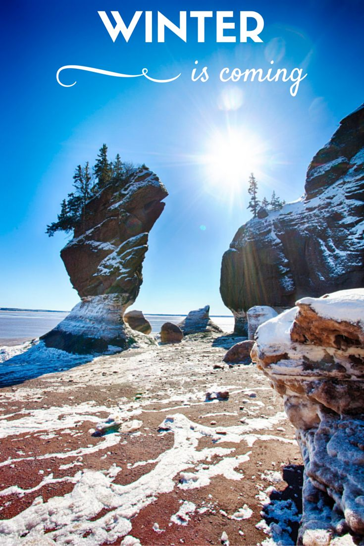 Winter is coming | A dusting of snow on The Hopewell Rocks in the Bay of Fundy, New Brunswick Canada. #ExploreNB