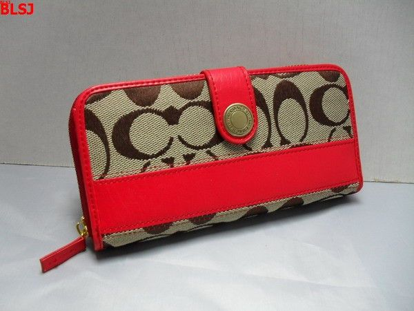 Coach Poppy Signature Accordion Zip Wallet Red