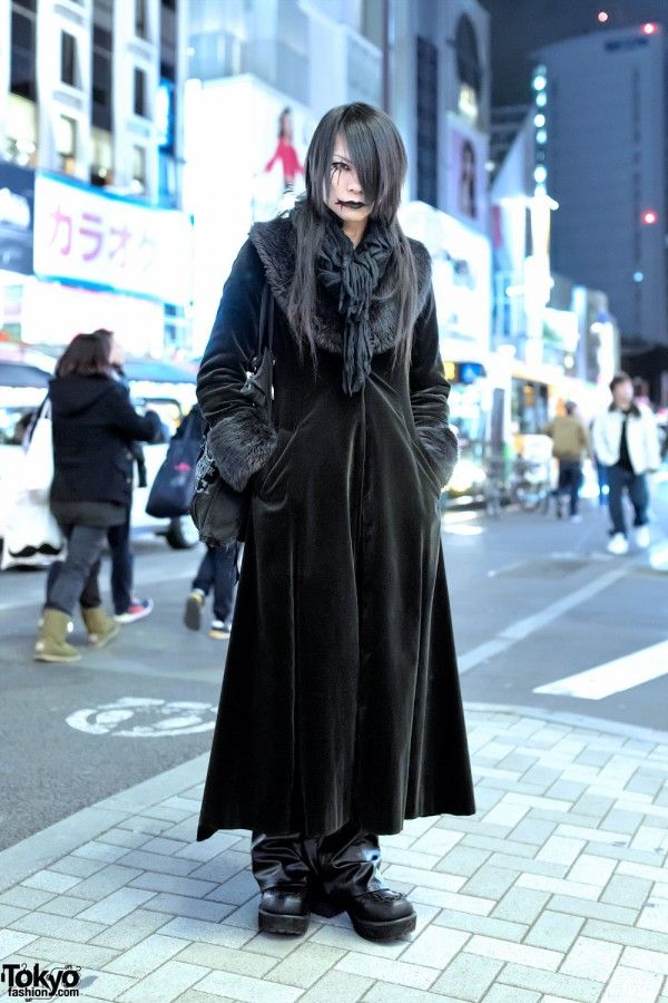 Kyouka's look features a long Black Peace Now with leather pants by the Haraju…