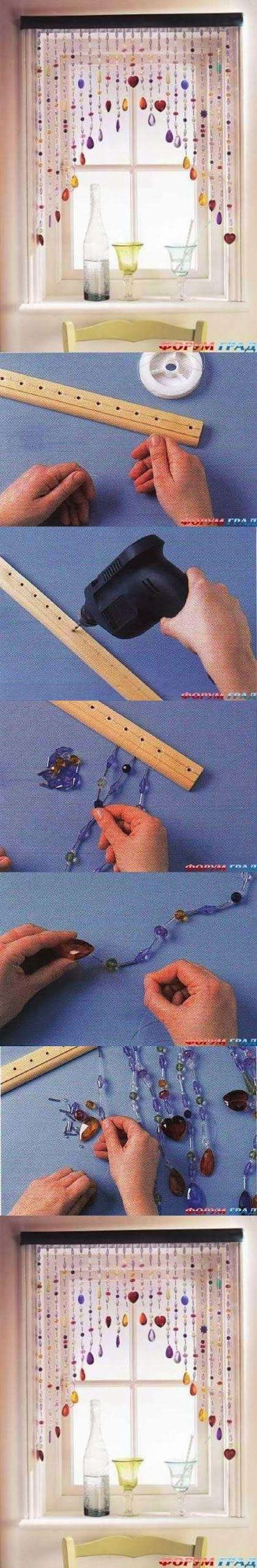 DIY Beaded Curtain .... Creating a bead curtain for a porch