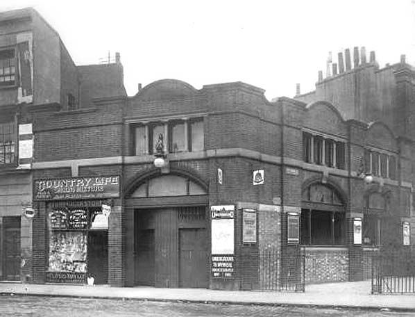 City Road Station (1901-1922) (demolished c.1970) here shown in 1915 whilst still operational. Almost no sign remains of this station that was between Old Street and Angel on the Northern Line. Only a ventilation tower remains on the corner of City Road and Central Street to indicate this building ever stood.