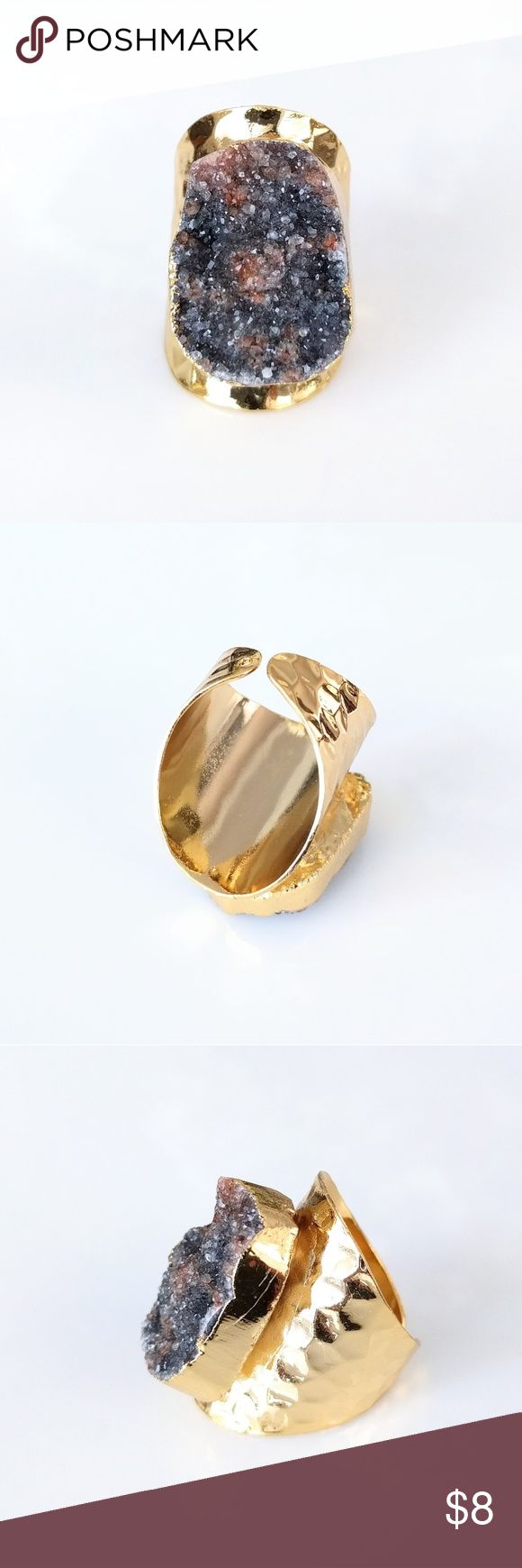 """Gold-plated genuine agate druzy statement ring Nickel and lead free.  About a size 7.  Not adjustable.  PRICE IS FIRM and extremely reasonable; click """"add to bundle"""" to save 10% on your purchase of 2+ items today! Jewelry Rings"""