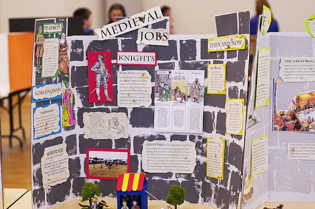 The Hitchcock family participated in a history fair, representing the Middle Ages! Here is their display of Medieval jobs! Great job! I love the castle display boards--very creative, guys! Notice the stained, burned edge papers...very cool!