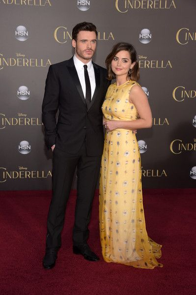 """Richard Madden Photos Photos - Actor Richard Madden (L) and Jenna Coleman attend the premiere of Disney's """"Cinderella"""" at the El Capitan Theatre on March 1, 2015 in Hollywood, California. - 'Cinderella' Premieres in Hollywood — Part 3"""