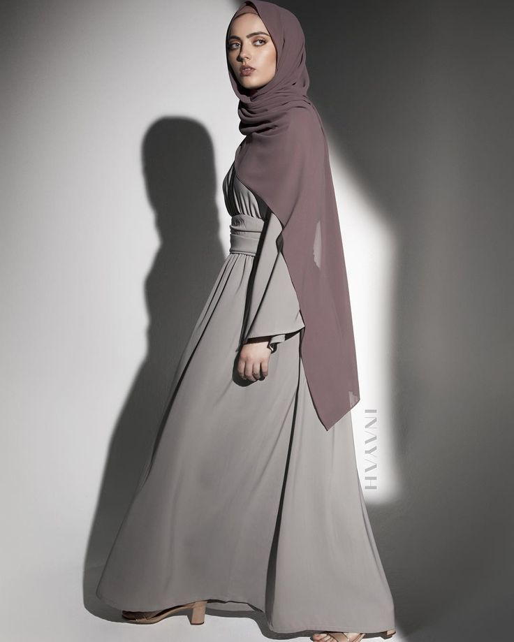 Leading-edge style in this fluid kimono style dress. Flint Grey Kimono with Basque Detail Dusty Ash Soft Crepe Hijab www.inayah.co