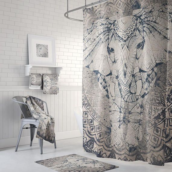 Elephant Shower Curtain With Optional Matching Hand Towels And Bath Mats Available Gray And Navy Elephant Bathroom Decor Elephant Shower Curtains Elephant Bathroom Decor Elephant Shower