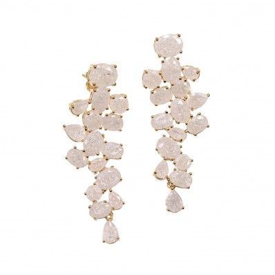 Arya Italian Jewels - Orecchini Dorati a Cascata con Cristalli Swarovski Avorio - Women's Waterfall Earrings with Ivory Swarovski Crystals