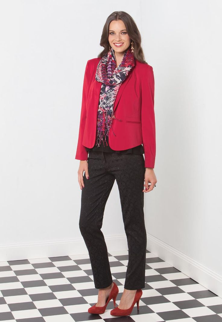Ladies Red Jacket  Saxby Jacket  Fully lined  Polyester/elastane  Red, Blue  Size: 6 - 22  $129.95    Peplum Top  Rayon/elastane  Black, Peacock, Scarlet  Size: 6 - 22  $69.95    Kennedy Pants  Polyester/cotton/elastane  Black, Red  Size: 6 - 28  $85.95
