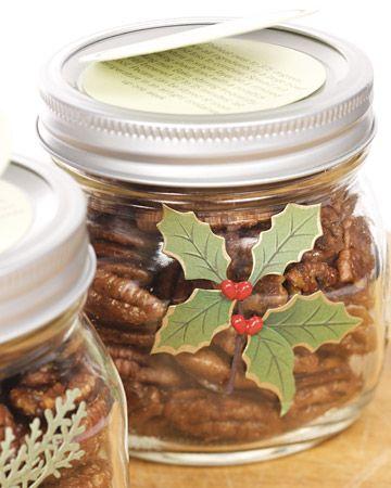 Spiced Maple-Glazed Pecans in a mason jar :) from @Martha Stewart