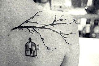Tat'spiration. Loving the elegant tattoo styles? Here's one. Bird cage and cherry blossom tree.