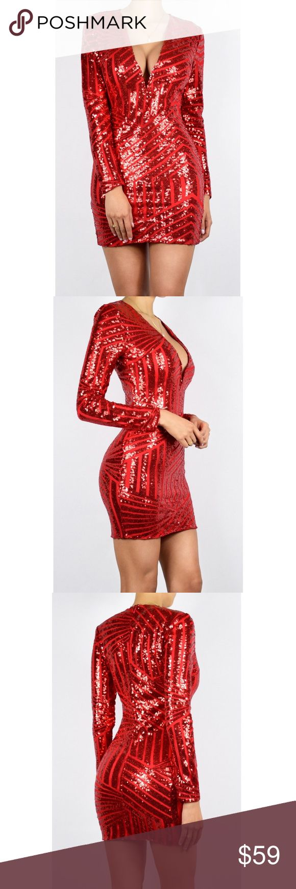 """Red Sequin Long Sleeve Mini Dress Our 'Scarlet Sequin Mini Dress'  Features: -Sequin Detail -Back zipper -Deep V-cut -Textured -Figure-hugging  Material: 100% Polyester  Sizing: Model Measurements: - Height: 5'7.5"""" - Bust/Waist/Hips: 34""""/24.5""""/35""""  Model is wearing a size small. This item runs true to size. No stretch. Wardrobe Lane Dresses Mini"""