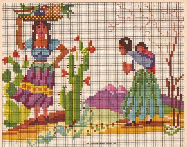 0 point de croix femmes mexicaines - cross stitch mexican women