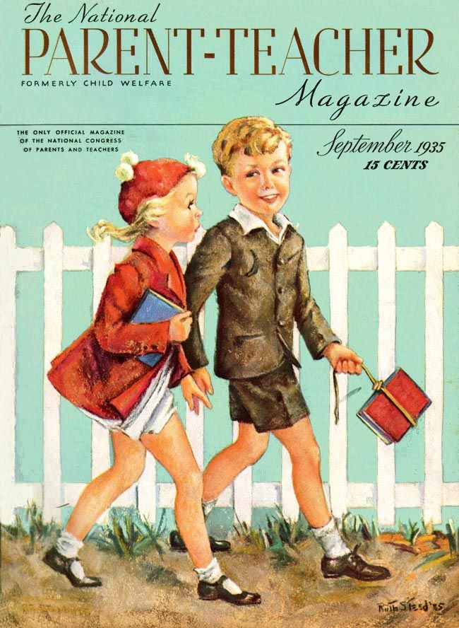 Parent-Teacher Magazine 1935-09  Boy and girl pass inf front of a white picket fence, carrying their schoolbooks as they go off to the first day of school. This is a magazine about children, more than one for them.     Artist: Ruth Steed  Source: Charles Perrien  Restoration by: Charles Perrien