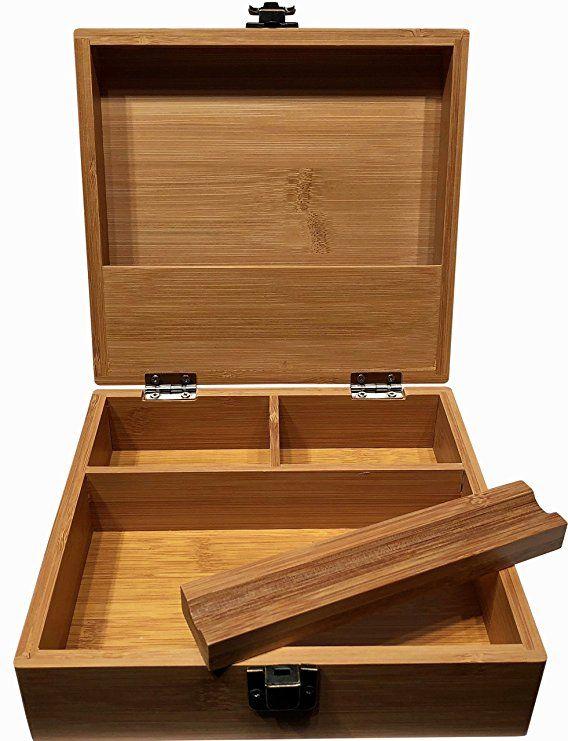 Stash Box Large With Rolling Tray 7 X 7 Bamboo Box Three