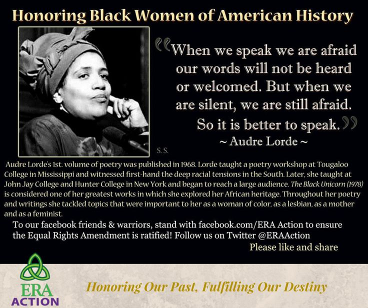 In honor of Black Women in American History, we honor Audre Lorde, Caribbean-American writer, feminist, womanist, lesbian and civil rights activist. http://www.poetryfoundation.org/bio/audre-lorde ‪#‎BlackHistoryMonth‬ ‪#‎WomensHerstory‬  Stand with ERA Action to ensure the ratification of the Equal Rights Amendment - Follow us on Twitter @ERAAction & join us on https://www.facebook.com/ERAAction