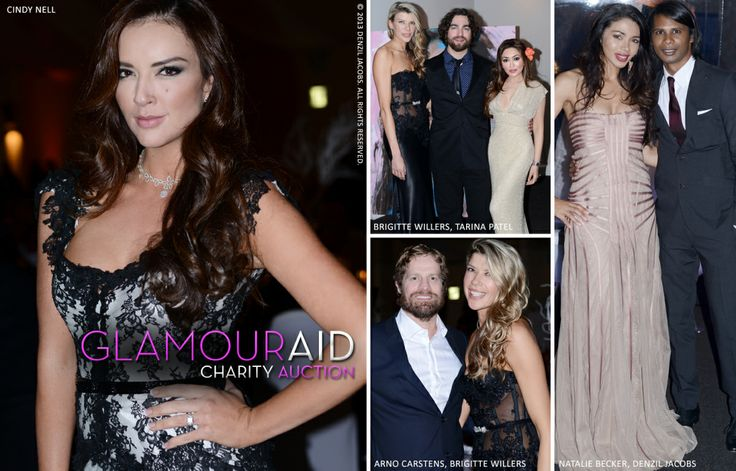 Glamour Aid Charity Event, Cindy Nell dressed in Hendrik Vermeulen Couture, Brigitte Willers, Tarina Patel, Arno Carstens, Natalie Becker (by Denzil Jacobs)