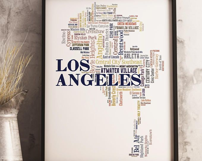Los Angeles Map Print Los Angeles Map Los Angeles Wall Art Etsy Los Angeles Map Print Map Print Los Angeles Map