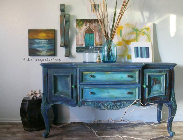 """""""Let the beauty of what you love be what you do."""" - Dionne of The Turquoise Iris  Dionne enchants us with her astounding artistry once more! Among the various layers of beautiful colors, she used GF's Klein Blue Milk Paint."""