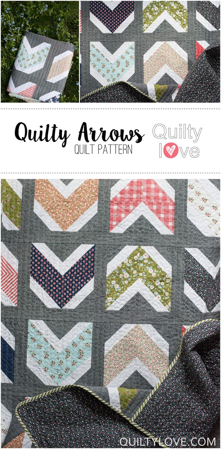 Quilty Love   Quilty Arrows Quilt Pattern   http://www.quiltylove.com - Modern arrow quilt using your favorite fat quarters. This beginner friendly quilt pattern goes together quickly. Striking modern quilt design using the popular arrow or chevron design.
