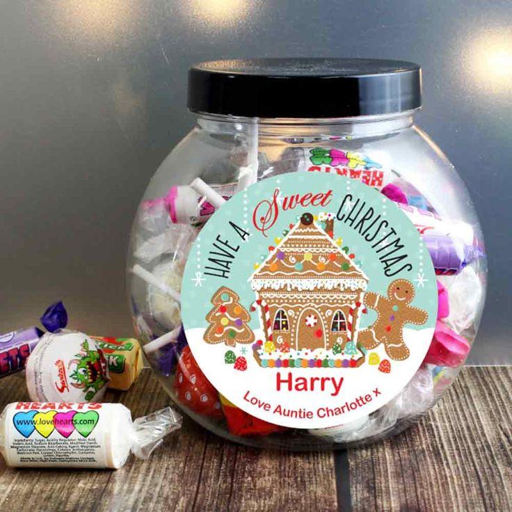 Personalised Gingerbread House Christmas Sweet Jar