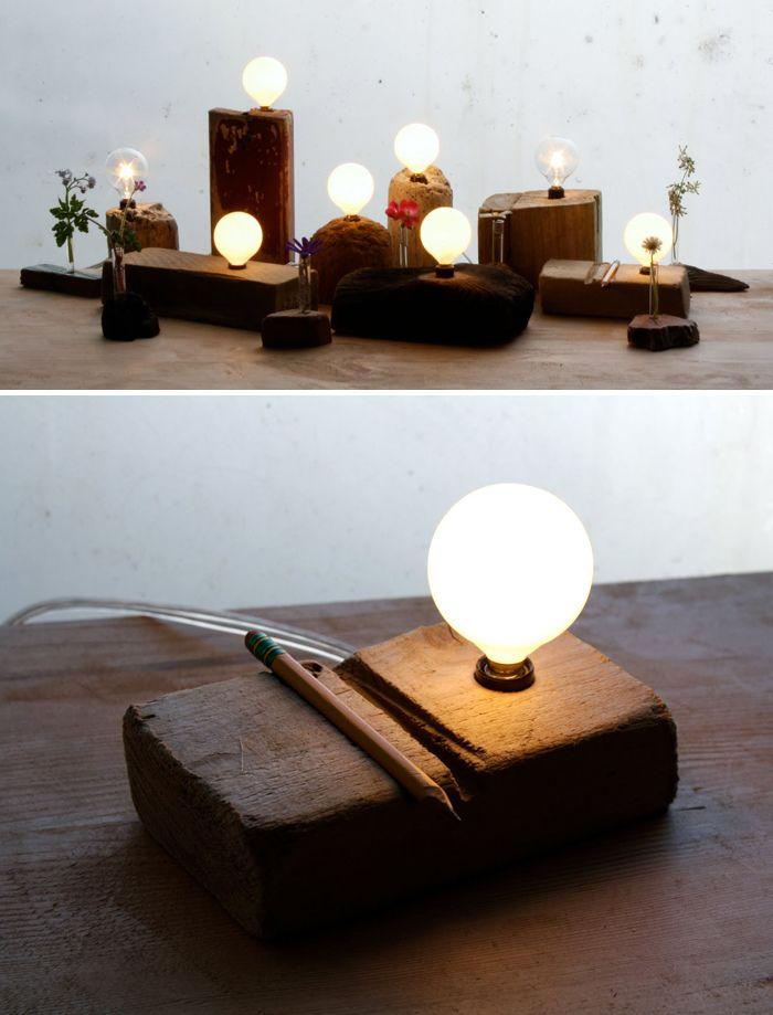DIY lamps: Lightbulbs and wood