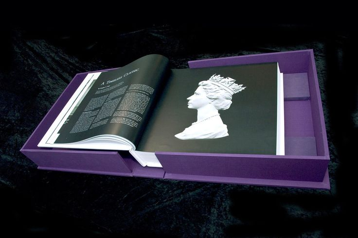 The book within it's lavish silk covered box, showing an image of the original cast of Queen Elizabeth II, which was used to create stamps and currency. Book design by Martin Sully. #design #book #presentation #case #luxury