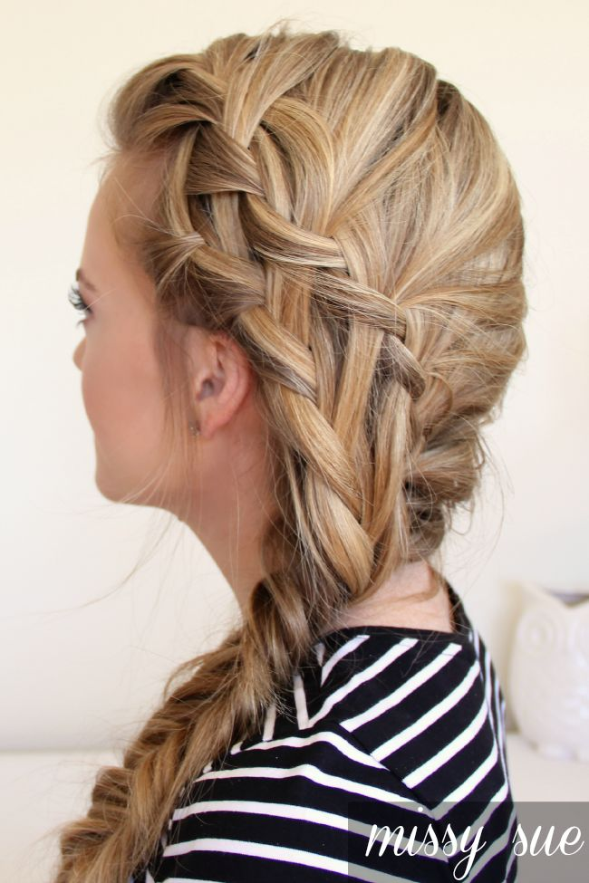 Double Waterfall Braid and Fishtail Side Braid includes video tutorial. Very doable!