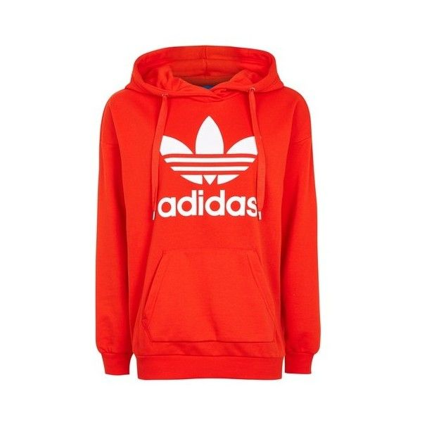 Trefoil Hoodie by Adidas Originals ($61) ❤ liked on Polyvore featuring tops, hoodies, red, layered hoodie, hooded sweatshirt, red top, cotton hoodie and cotton hoodies