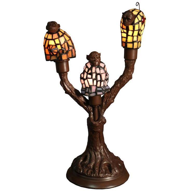 Warehouse of Tiffany Zendaya 17 in. Tiffany Style Table Lamp 3-light Monkey-shaped with InLine Switch