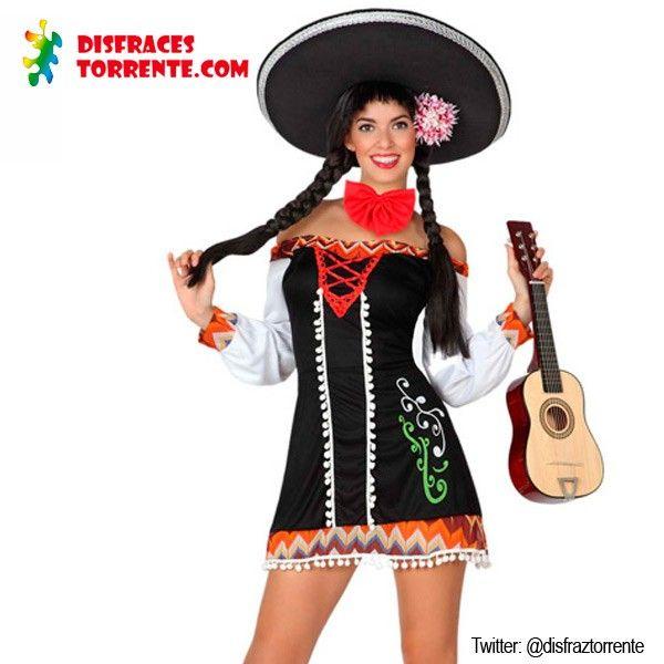 Disfraz de Mariachi Mejicana sexy para mujer Este disfraz de mariachi mejicana nos encanta, es un vestido muy sexy con unos colores y unos d...