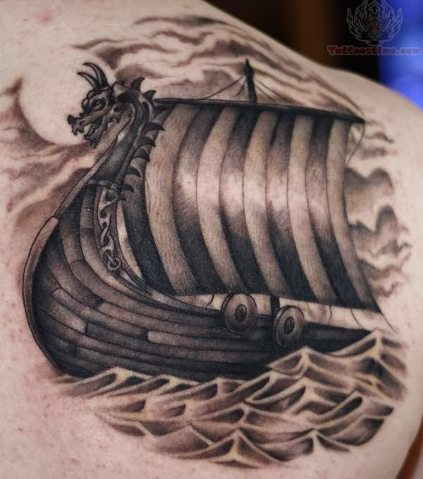 I like this type of layout and imagery for the viking ship tattoo. though mine would go on my right thigh viking ship - Google Search