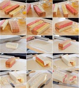 HOW TO Battenbergcake lees stap voor stap hoe je een gekleurde cake maakt met 2 of 3 kleuren zodat deze mooi verspringen. Het recept van de cake staat ook op onze site.