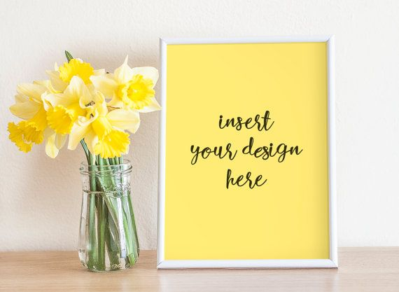 White Frame Mockup With Yellow Narcissus Bouquet  by JeanBalogh