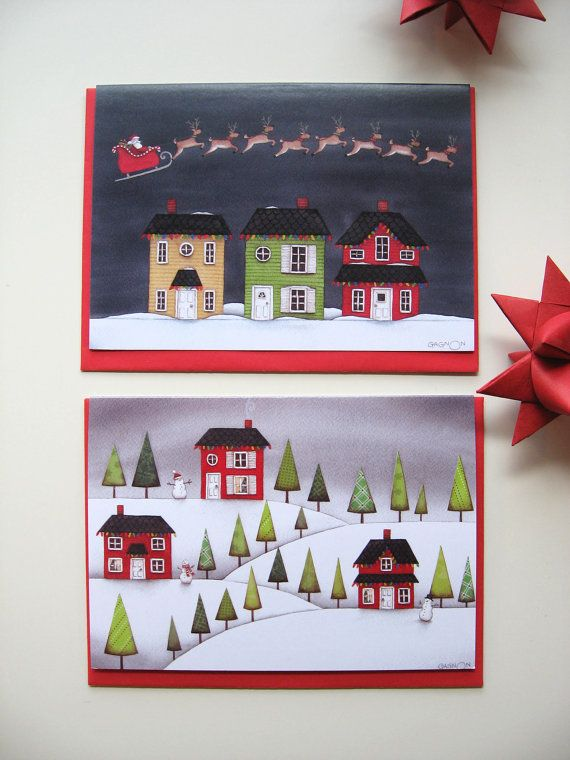 The Houses Collection set of 4 Christmas Cards by AnikGagnonArt