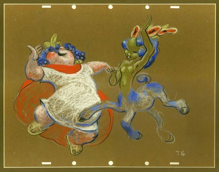 Σχέδιο με παστέλ άγνωστου καλλιτέχνη των Disney Studios που παριστάνει τον Σειληνό και μια Κενταυρίνα. Έγινε το 1940 για τη «Φαντασία» αλλά δε χρησιμοποιήθηκε ποτέ.