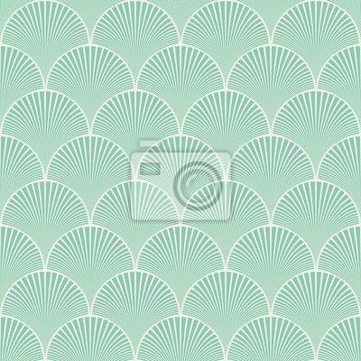 Fotobehang Naadloze turquoise Japanse art deco bloemen golven patroon vector