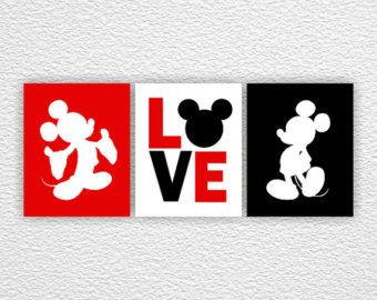 Minnie Mouse and Mickey Mouse Wall Art Disney by myfavoritedecor
