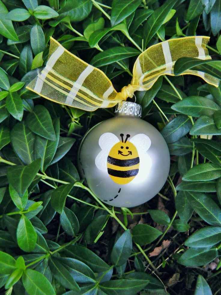 Bumble Bee Ornament Personalized Free - Handpainted Glass Ball Ornament. $15.25, via Etsy.