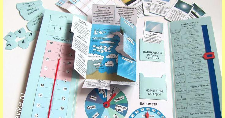 """Лэпбук (lapbook) о погоде для детей старшего дошкольного и младшего школьного возраста. Обучающее пособие по """"окружающему миру"""". Шаблоны для распечатки."""