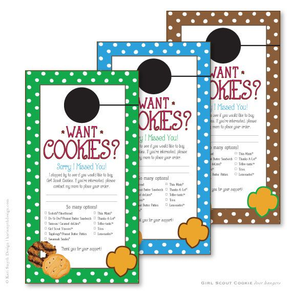 Girl Scout Cookie Sales: Polka Dot Door Hanger Downloadable file in three colors By Kari Smyth Design  Help boost your sales with these leave behind door hanger. Print, cut and take them on the road. When you neighbors arent home, leave these door hangers so they can call you with their orders!  :: :: This download is a door hanger is sold as is. The file is not editable. No refunds are given once you download the file. :: :: If you would like to personalize the door hanger with your troops…