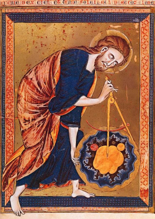 The Earth was not flat in the Orthodox East: Jesus, through Whom all things were made, uses the principles of geometry.