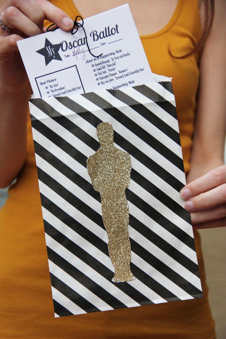 2012 DIY Oscar Party for the 84th Annual Academy Awards with free printable Oscar ballots, Oscar favorites and a DIY glitter Oscar envelope
