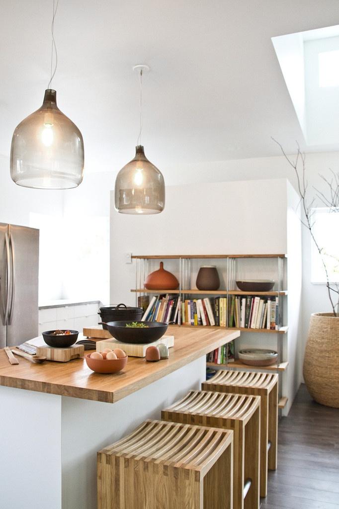 lights, benches, counter, shelves